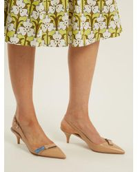 Prada - Multicolor Point-toe Leather Sling-back Pumps - Lyst