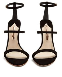 Sophia Webster - Black Rosalind Crystal Embellished-heel Suede Sandals - Lyst