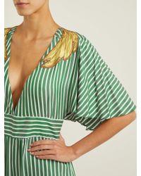 Adriana Degreas - Green Banana Appliqué Striped Jumpsuit - Lyst
