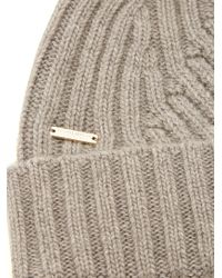 Woolrich - Gray Detachable Fur-pompom Ribbed-knit Beanie Hat for Men - Lyst