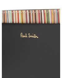 Paul Smith - Black Striped-print Leather Cardholder - Lyst
