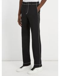 Givenchy - Black Stitch Detail Straight Leg Trousers for Men - Lyst