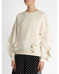 Stella McCartney White Ruffle-trimmed Neoprene Sweatshirt