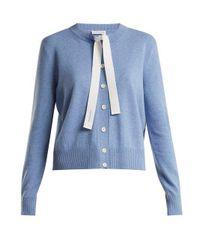 Altuzarra - Blue Pleyel Tie-neck Cropped Cardigan - Lyst