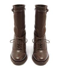Bottega Veneta - Brown Intrecciato-panel Leather Ankle Boots - Lyst