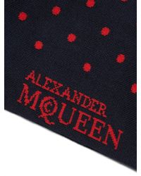 Alexander McQueen - Blue Polka-dot Jacquard Cotton-blend Socks for Men - Lyst