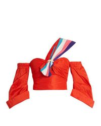 Peter Pilotto - Red Twisted-front One-shoulder Taffeta Top - Lyst