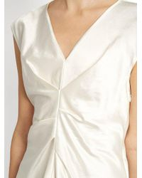 Isabel Marant White Romney Pleated-front Satin Top
