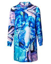 Matthew Williamson | Blue Printed Silk Shirt Dress | Lyst