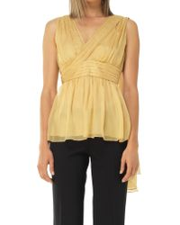 Leon Max | Yellow Mesh Silk Chiffon Wrapped And Draped Blouse | Lyst