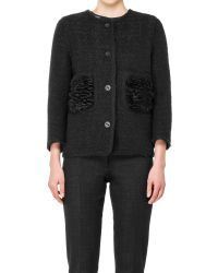 Leon Max | Black Boiled Boucle Jacket With Faux Fur Pockets | Lyst
