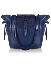 1e36a16380be Lyst - Meli Melo Fleming Medium Tote Bag Midnight Blue Croc Effect ...