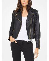 Michael Kors - Black Leather Biker Jacket - Lyst