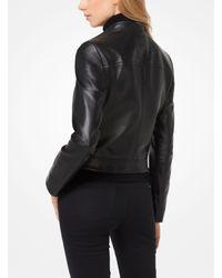 Michael Kors - Black Leather Moto Jacket - Lyst