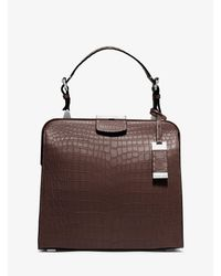 Michael Kors | Brown Millicent Medium Crocodile Top-handle Bag | Lyst