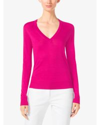 Michael Kors | Purple Silk V-neck Sweater | Lyst
