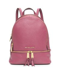 Michael Kors - Purple Rhea Small Leather Backpack - Lyst