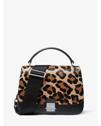 Michael Kors - Black Mia Leopard Calf Hair Shoulder Satchel - Lyst