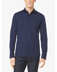 Michael Kors | Blue Slim-fit Stretch-cotton Shirt for Men | Lyst