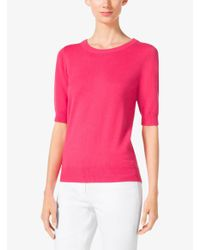 Michael Kors - Pink Elbow-sleeve Cashmere Sweater - Lyst