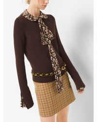 Michael Kors - Brown Button-cuff Cashmere Sweater - Lyst