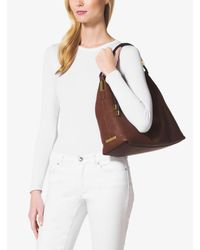 Michael Kors - Brown Skorpios Large Pebbled Leather Shoulder Bag - Lyst