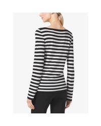 Michael Kors | Black Striped Merino Wool Sweater | Lyst