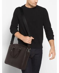 Michael Kors - Brown Odin Large Leather Briefcase for Men - Lyst