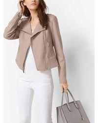 Michael Kors | Pink Leather Moto Jacket | Lyst