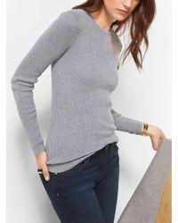 Michael Kors - Gray Ribbed Crewneck Sweater - Lyst