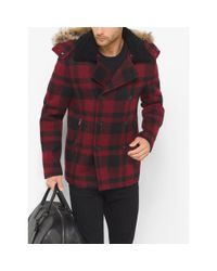 Michael Kors   Red Fur-trimmed Buffalo Check Wool Melton Anorak Peacoat for Men   Lyst