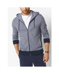 Michael Kors | Blue Striped Cotton Zip-up Hoodie for Men | Lyst