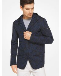 Michael Kors - Blue Hooded Camouflage Jacket for Men - Lyst