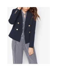 Michael Kors | Blue Double-breasted Twill Blazer | Lyst