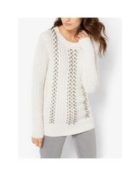 Michael Kors - White Beaded Cable-knit Sweater - Lyst