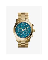 Michael Kors | Metallic Watch Hunger Stop Oversized Runway Gold-tone Stainless Steel Watch | Lyst