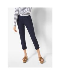 Michael Kors | Blue Slim-fit Stretch-twill Cropped Trousers | Lyst