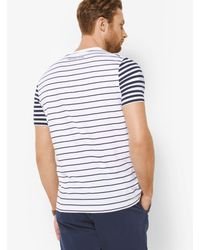 Michael Kors - White Striped Cotton T-shirt for Men - Lyst