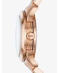 Michael Kors - Metallic Runway Baguette Rose Gold-tone Watch - Lyst
