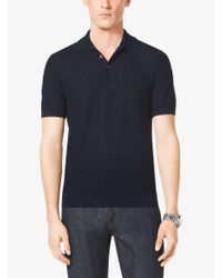 Michael Kors - Blue Pique Linen And Cotton Polo Shirt for Men - Lyst