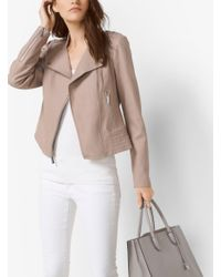 Michael Kors - Pink Leather Moto Jacket - Lyst