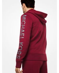 Michael Kors - Red Logo Cotton-blend Zip-up Hoodie for Men - Lyst