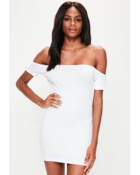 763ae374d114 Lyst - Missguided Petite White Bardot Ribbed Mini Dress in White