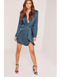 Lyst - Missguided Silky Plunge Wrap Shift Dress Navy in Blue c38445c8e
