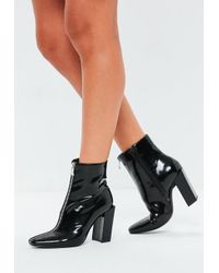f073bc1be1b5 Missguided Black Feature Heel Full Zip Ankle Boots in Black - Lyst