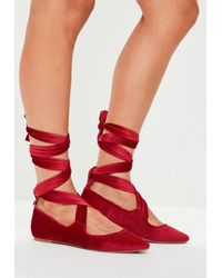 9b243119e8a Missguided Red Velvet Lace Up Flats in Red - Lyst