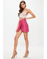 Missguided - Pink Textured Wrap Mini Skirt Pink - Lyst