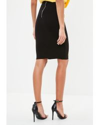 Missguided - Black Lace Up Ribbed Bodycon Skirt - Lyst