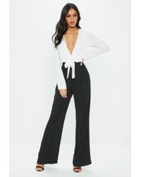 0cde4f2b427 Missguided Black Mono Tie Front Jumpsuit in Black - Lyst