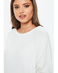 Missguided - White Brushed Crew Neck Sweatshirt - Lyst
